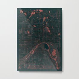 St Paul Map Red Metal Print