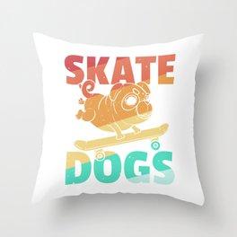Dog Skateboard Skate Skater Retro Pug Throw Pillow