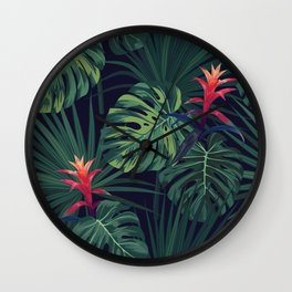 Tropical pattern with Guzmania flowers Wall Clock