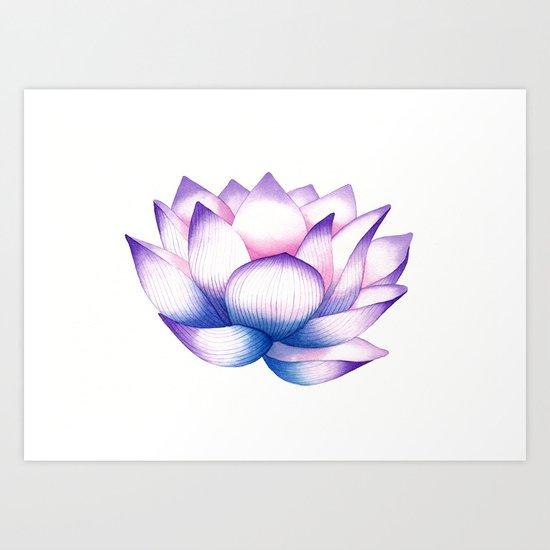 Watercolour Lotus Art Print