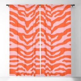 Zebra Wild Animal Print Orange and Pink Blackout Curtain