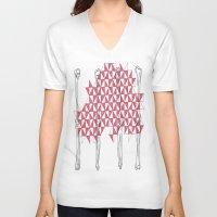 bones V-neck T-shirts featuring bones by smurfmonster