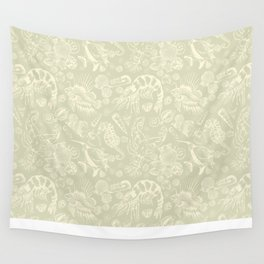 Ocean Critters with Grey Background Wall Tapestry