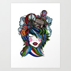 Paris girl Art Print