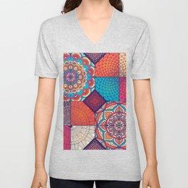 Colorful Mosaic Boho Design Unisex V-Neck