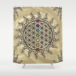 FLOWER OF LIFE, CHAKRAS, SPIRITUALITY, YOGA, ZEN, Shower Curtain