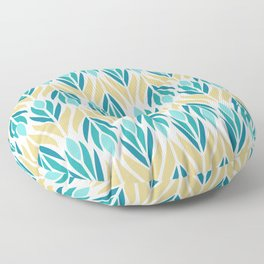 Mid Century Modern Abstract Floral Pattern in Turquoise Teal Aqua and Marigold Floor Pillow