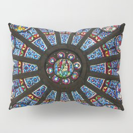 STAINED GLASS Notre Dame Cathedral Paris France Pillow Sham