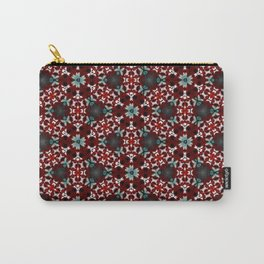 Dark Red and Green Flower Pattern Carry-All Pouch