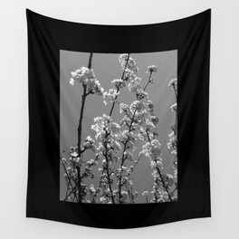 Tree Blossoms in Black and White Wall Tapestry