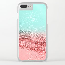 Summer Vibes Glitter #5 #coral #mint #shiny #decor #art #society6 Clear iPhone Case