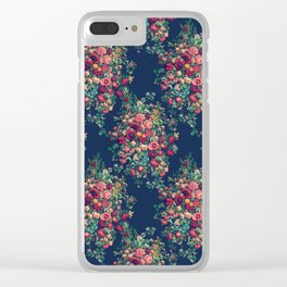 Vintage Roses on Blue Floral Pattern Clear iPhone Case
