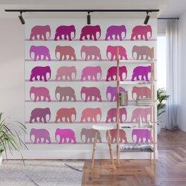 Elephants Pink Wall Mural