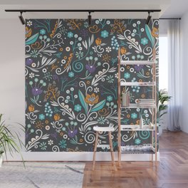 Flower circle pattern, brown Wall Mural