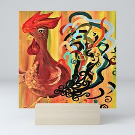 Curly Rooster Mini Art Print