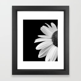 Half Daisy in Black and White Framed Art Print