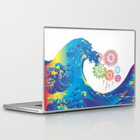 hokusai Laptop & iPad Skins featuring Hokusai Rainbow & Fireworks  by FACTORIE