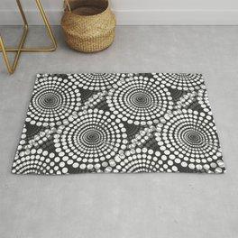 White Dots on Black Background Retro Mood -Black And White #decor #society6 #buyart Rug