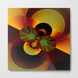 Brown and Gold Circles Geometric Abstract Metal Print