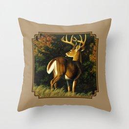 Whitetail Deer Trophy Buck Throw Pillow