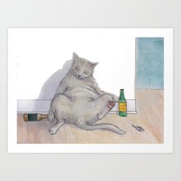 Drunk Kitty Art Print