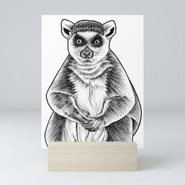 Ring tailed lemur - ink illustration Mini Art Print