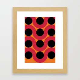 Black Balls on red Elastic Worms in an Orange Background Framed Art Print