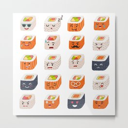 Sushi and sashimi emoji vector set. Emoji sushi with faces icons Metal Print