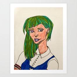 Green Haired Girl Art Print