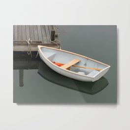 Skiff with life preserver Metal Print