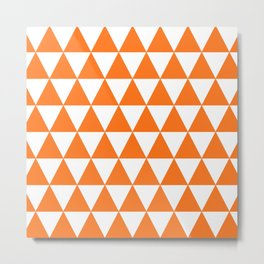 Triangle Texture (Orange & White) Metal Print