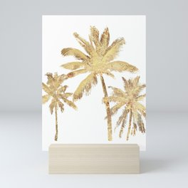 Gold Palm Trees Beach Chic Tropical Mini Art Print