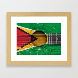 Old Vintage Acoustic Guitar with Guyanese Flag Framed Art Print