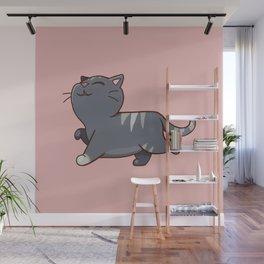 Proud cat pattern Pink Wall Mural