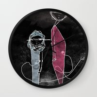 kevin russ Wall Clocks featuring ABOUT KEVIN by yosoydan