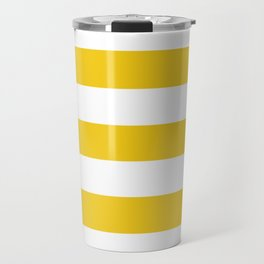 Jonquil - solid color - white stripes pattern Travel Mug