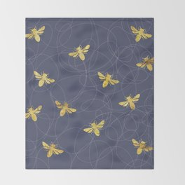 Flying Gold Bees On A Dark Blue Background Throw Blanket