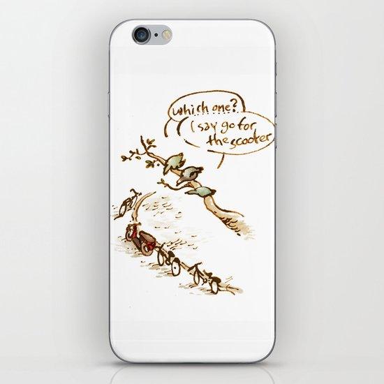 Pigeons and a scooter iPhone & iPod Skin