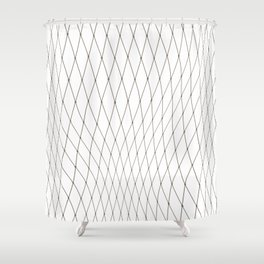 Fish net / black on white distorted geometry Shower Curtain