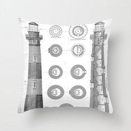 Vintage Bodie Island Lighthouse Diagram Throw Pillow