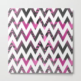Abstract pink gray white chevron tropical monster leaves Metal Print