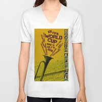 south africa V-neck T-shirts featuring World Cup: South Africa 2010 by James Campbell Taylor