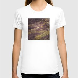Classic Vintage Eggplant-Plum Faux Marble With Gold Veins T-shirt