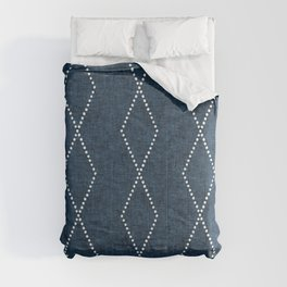 geometric diamonds - denim blue Comforters