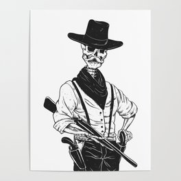 Sheriff with mustache and rifle Poster