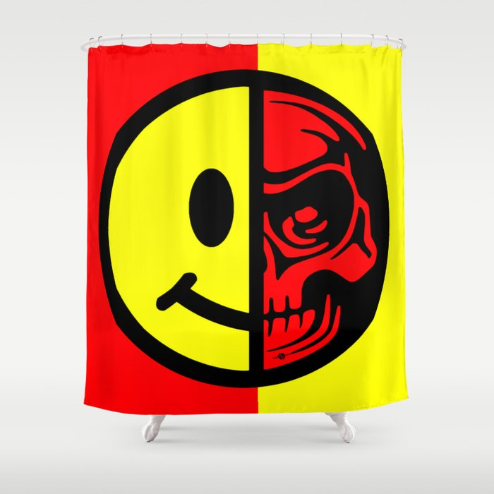 Smiley Face Skull Yellow Red Shower Curtain