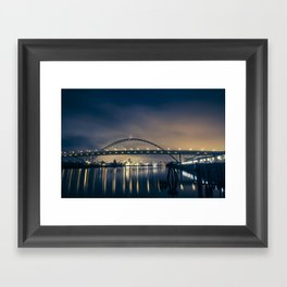 Fremont Bridge at Night Framed Art Print