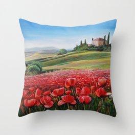Italian Poppy Field Throw Pillow