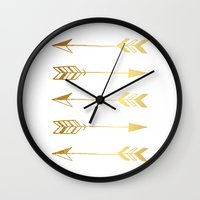 gold foil Wall Clocks featuring Faux gold foil arrows by Jaclyn Rose Design