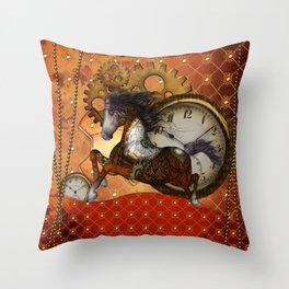 Steampunk, wonderful wild, red  steampunk horse Throw Pillow
